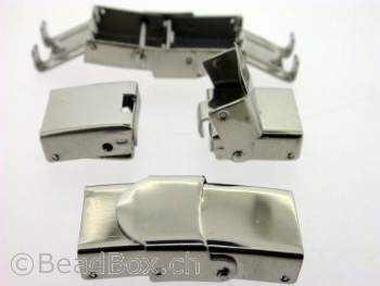 Stainless Steel Magnetic Clasps , Farbe: Platinum, Grösse: ± 26x13 mm, Menge: 1 Stk