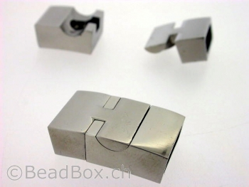 Stainless Steel Magnetic Clasps , Farbe: Platinum, Grösse: ± 23x14 mm, Menge: 1 Stk