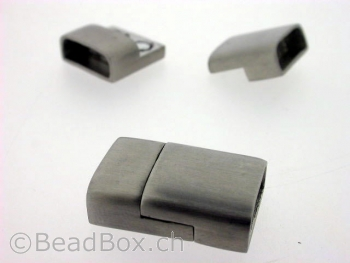 Stainless Steel Magnetic Clasps , Farbe: Platinum, Grösse: ± 24x16 mm, Menge: 1 Stk