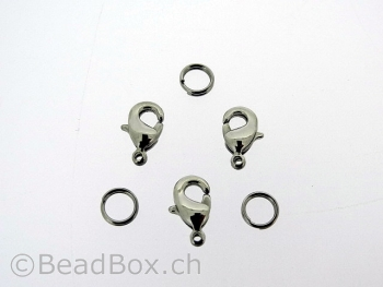 Stainless Steel Lobster Clasps with ring, Color: Platinum, Size: ±10 mm, Qty: 2 pc.