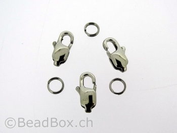 Stainless Steel Lobster Clasps with ring, Color: Platinum, Size: ±12 mm, Qty: 2 pc.