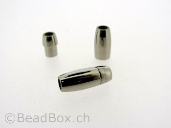Stainless Steel Magnetic Clasps, Color: Platinum, Size: ± 16x7mm, Qty: 1 pc.