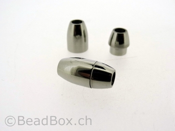 Stainless Steel Magnetic Clasps, Color: Platinum, Size: ± 15x8mm, Qty: 1 pc.