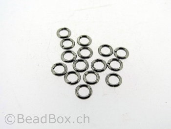 Stainless Steel Open Ring, Color: Platinum, Size: 4mm, Qty: 20 pc.