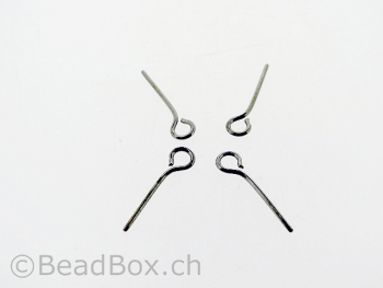 Stainless Steel Eye Pin, Color: Platinum, Size: 15mm, Qty: 10 pc.