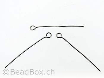 Stainless Steel Eye Pin, Color: Platinum, Size: 35mm, Qty: 10 pc.