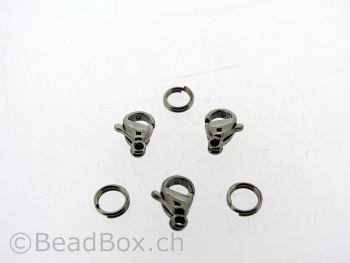 Stainless Steel Lobster Clasps with ring, Color: Platinum, Size: ±9mm, Qty: 2 pc.