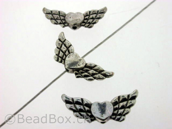 Wing with heart, Color:Old Silver, Size: ±21x8mm, Qty: 1 pc.