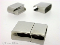 Stainless Steel Magnetic Clasps , Farbe: Platinum, Grösse: ± 25x21 mm, Menge: 1 Stk